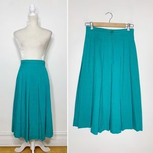 VINTAGE 80's box pleated high waist midi skirt